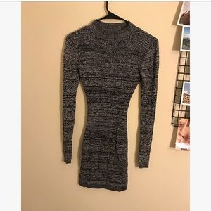 GRAY LONG SLEEVE MOCK NECK SWEATER DRESS